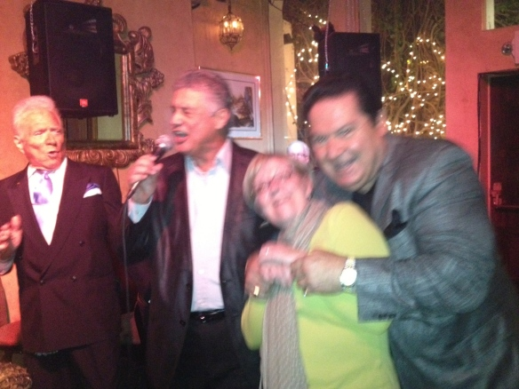 Singing with Tony and the boys at Melvin's piano bar in Palm Springs.